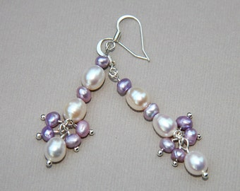 Lilac White Pearl Earrings, Wedding Jewelry, Gemstone Jewelry, Purple Jewelry, Bridal Jewelry, Pearl Jewelry, Bridesmaid Jewelry, Birthstone