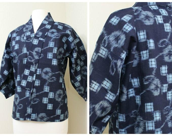 IKAT Haori Jacket. Vintage Japanese Indigo Kasuri Cotton Folk Noragi Peasant Clothing (Ref: 1163)