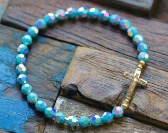 Gold Filled Small CZ Sideway Cross and Swarovski Crystal Stretch Bracelet