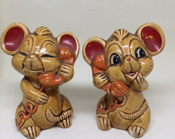 Vintage Anthropomorphic Mice Mouse on phone Salt and Pepper Shakers Japan