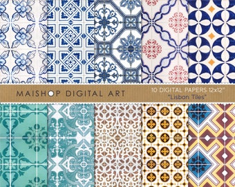 Digital Paper 'Lisbon Tiles' Printable Portuguese Azulejos Patterns for Scrapbooking, Paper Crafts, Decoupage, Cards, Invites...