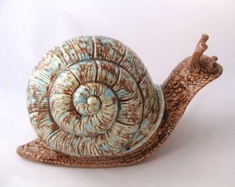 Garden Snail - Turquoise & Blue Snail - Yard Snail - Large Snail - Ceramic Snail - LRG Garden Snail