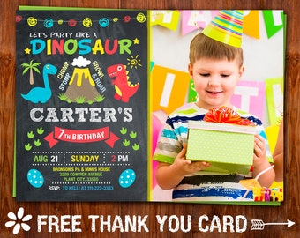Dinosaur Birthday Invitation, Dinosaur Invitation, Dinosaur Party, Boys Dinosaur Birthday Party, Dinosaur Chalkboard Invitation.