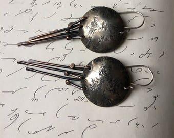 Mixed Metal Earrings, Urban Earrings, Distressed Earrings, Silver and Copper, Primitive Earrings