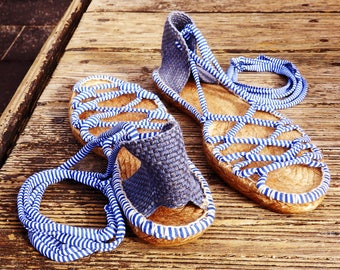 Greek navy espadrilles sandals with blue heel   Sailor striped fabric  Alpargatas made in Spain