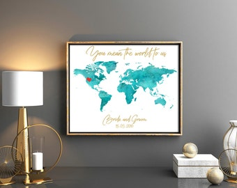 World map wedding guest book you mean the world to us blue wedding guestbook world map guest book map wedding guest book wedding map wedding map guest gumiabroncs Image collections