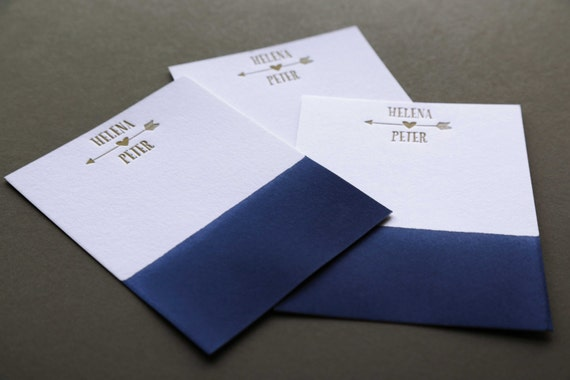 NAVY + GOLD: Couples Custom Dip Dye Letterpress A2 Flat Note Cards + Blank Matching Envelopes, qty 50