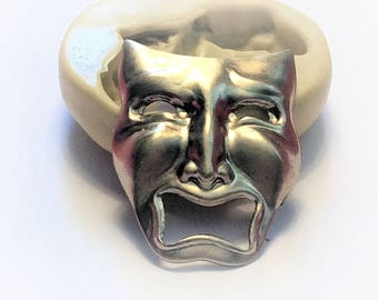 Tragedy Face Theatre mask  flexible silicone mold
