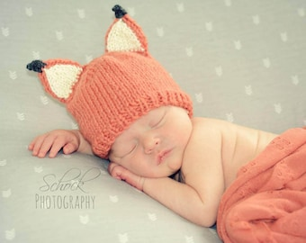 Fox Baby Hat | Fox Newborn Hat / Woodland Baby Hat / Baby Shower Gift / Newborn Photo Prop / Fox Preemie Hat / Pregnancy Announcement Gift