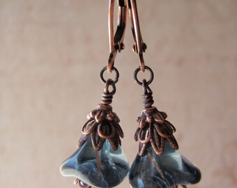 Copper Earrings Picasso Finish Flower Antique Copper Leverback Ear Wire Montana Blue