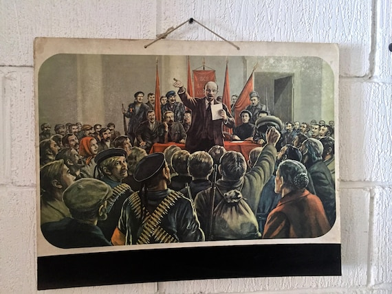 1950's Communist Era East German School Card / Poster Of Comrade Lenin