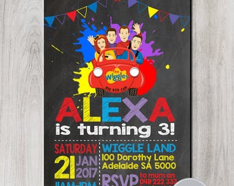 SALE!!! Wiggle Imitation Invitation, Wiggles Birthday, Wiggles Party