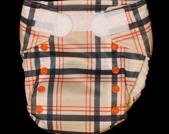 Orange Plaid AIO Cloth Diaper