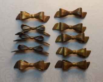 """Raw brass 3/D bows,1&1/4""""x 1/4"""",natural patina, 10pcs-KC109"""