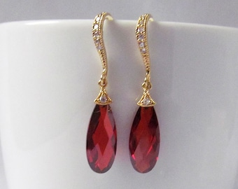 red crystal earrings, gold and red earrings, red prom earrings, red drop earrings, red earrings gold, red teardrop earrings, ruby earrings,