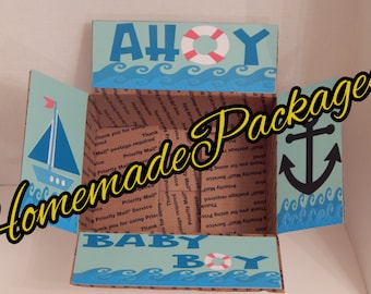 AHOY Baby Boy Care Package/Baby Shower/Nautical Baby****Care package flaps ONLY**carepackage, deployment, care package flaps,