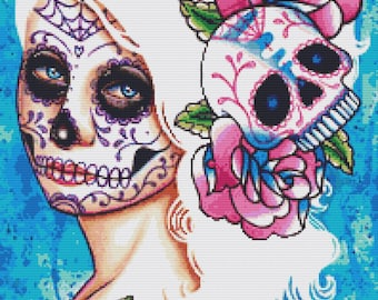 Modern Cross Stitch Kit by Carissa Rose 'Empty Promises' Day of the Dead Sugar Skull Cross Stitch