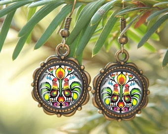 Folk Mandala Earrings, Polish cutout earrings, folk studs, mandala studs, Glass Earrings, Christmas gift, folk jewelry