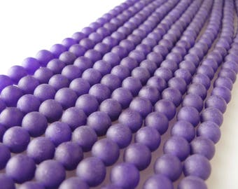 Matte Purple Jade Dyed Round Loose Beads. Size6mm/8mm/10mm Appro 15.5 Inches per Strand.