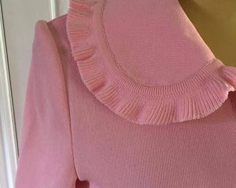 Vintage Long Pink Knitted Dress w Long Sleeves and Button Front Tricot De Paris