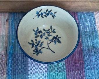 Blueberry design handmade pottery bowl - large ceramic bowl - Rustic French style bowl - ceramic serving bowl - 18oz - Pottery Bowl - 1718