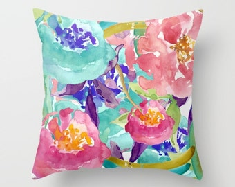 Teal Pink Floral Pillow  - Floral Cushion  - Floral Throw Pillow   - Modern Home Decor - By Aldari Home