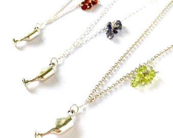 Wine Lovers Necklace. Wine Glass Necklace. Sterling Silver Wine Goblet with Peridot Grape Cluster. Wine Lovers Jewelry. Aziza Jewelry