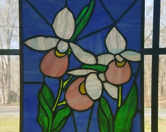 Lady Slippers Flower Stained Glass