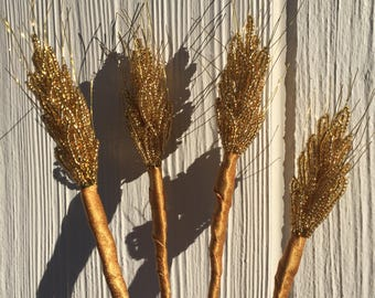 Four French Beaded Stems of Wheat