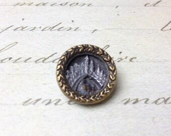 Small Antique Picture Metal Button Train under Bridge 16 mm