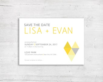 Save The Date - Mod Triangles Design - Modern Wedding - Color Block theme - Marriage Ceremony  - Personalized - Custom - Yellow
