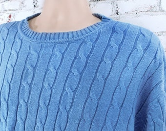 Blue cotton sweater men -unisex sweater - pullover sweater, boyfriend sweater,crew neck sweater,-cotton sweater men - X large sweater, # 105