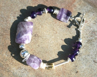 OOPSY Amethyst, Hilltribe and  Sterling Bracelet