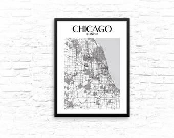 Chicago Map, Chicago Wall Art, Map of Chicago, Framed Poster, Chicago Print, Chicago Maps, Chicago Framed Wall Art, Framed Map of Chicago