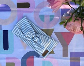 Headband Twist light blue white striped
