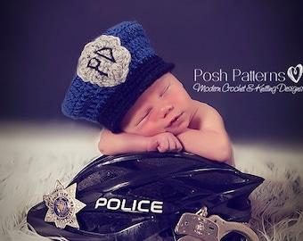 Crochet PATTERN - Police Man Policeman Hat - Crochet Hat Pattern - Crochet Patterns for Boys - 3 Sizes Newborn to 12 Months - PDF 274