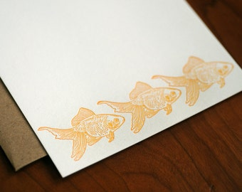 Goldfish Letterpress Notecard Set