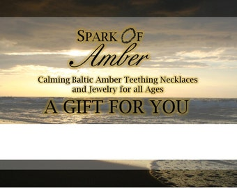 Natural Nugget Necklace GIFT CERTIFICATE for Spark of Amber -- One Natural Nugget Necklace with Free Shipping