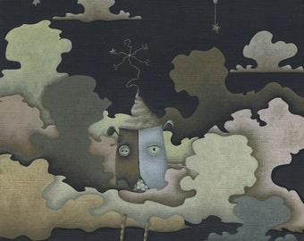"""Cloud Print - Acrylic Painting Digital Print - Canvas Painting Giclee Print - Art Painting Art Print - Illustration Art - """"Lark"""""""