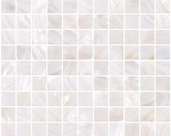 1-inch pearlescent White Mother of Pearl Shell Tile (SH11)