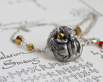 Dragon Necklace | Cute Pewter Dragon Charm Necklace | Dark Silver Dragon Pendant | Whimsical Fantasy Necklace