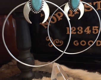 Sterling Silver, Brass, and Turquoise OSIRIS Hoop Earrings