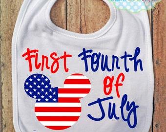 Bavoir - Mickey Mouse - quatrième de juillet premier jour de l'indépendance - 4 juillet