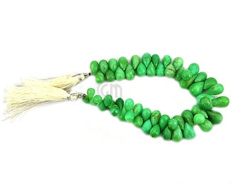 Chrysoprase Teardrops Beads 7x11mm Faceted Briolette Drops Beads 8 Inch Full Strand GemMartUSA (DRCP-70029)