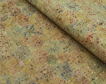 Portugal cork fabric 68*50cm/26.7*19.6inch colorful cork rainbow fabric rustic Natural Cork leather Vegan fabric COF-103