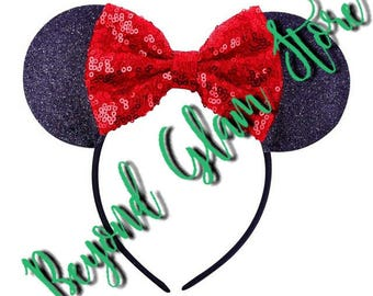 Elijah's Inspired Mickey & Minnie Extra Glam Sparkly Red! Ears 1 Pair Only! One Size Fits All!