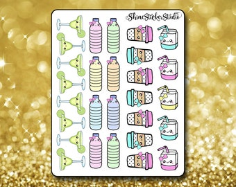 Cute Kawaii Beverage Sampler Stickers - Planner Stickers Erin Condren Life Planner Cute Stickers Kawaii Stickers ECLP Stickers Happy Planner