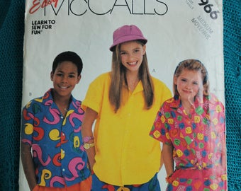 McCalls P966 Palmettos Childrens shirt pattern sz M