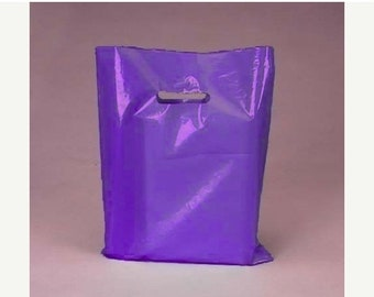 TAX SEASON Stock up 50 Pack Handle Cut Out Opaque Purple Plastic Merchandise Retail Bags