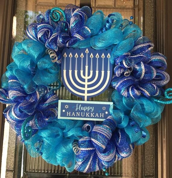 Happy Hanukkah Wreath, Hanukkah Wreath For Front Door, Light Up Hanukkah Wreath by Etsy